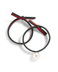 Cara - 2-pack Ribbon & Imitation Pearl Ponytail Holders, Green - Lyst