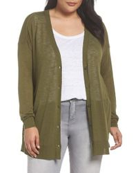 Sejour - Green Easy V-neck Cardigan - Lyst