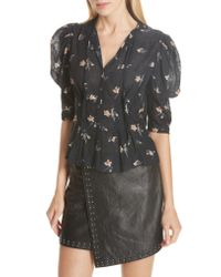 Joie - Black Issane Floral Blouse - Lyst