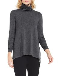 Vince Camuto | Gray Ruched Sleeve Turtleneck | Lyst