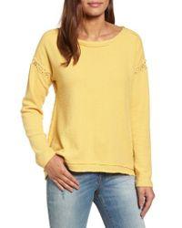 Caslon | Yellow Caslon Crochet Lace Trim Sweatshirt | Lyst