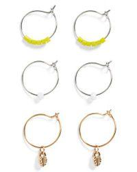 TOPSHOP - Metallic Set Of 3 Charm Hoop Earrings - Lyst