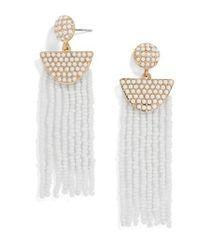BaubleBar - White Beaded Deco Drop Earrings - Lyst