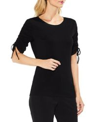 Vince Camuto   Black Ruched Elbow Sleeve Top   Lyst