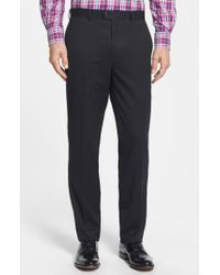 Bensol   Black Gab Trim Fit Flat Front Pants for Men   Lyst