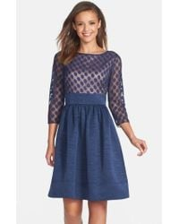 Eliza J - Blue Dot Mesh Bodice Fit & Flare Dress - Lyst