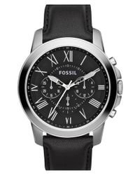 Fossil - Metallic 'grant' Round Chronograph Leather Strap Watch for Men - Lyst