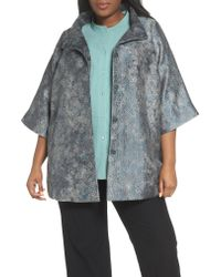 Eileen Fisher - Blue Jacquard A-line Jacket - Lyst