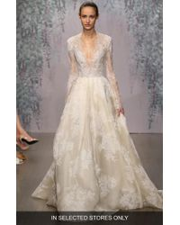Monique Lhuillier | White 'winslet' Plunging V-neck Organza & Lace Ballgown Dress | Lyst