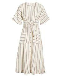 Free People Gray Monday Stripe Linen Blend Midi Dress