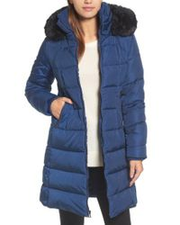 Vince Camuto - Blue Down & Feather Fill Coat With Faux Fur Trim Hood - Lyst