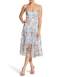 Dress the Population - Blue Uma Floral Embroidered Lace Dress - Lyst