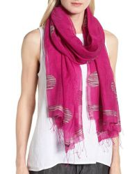 Eileen Fisher - Pink Dot Organic Cotton Blend Scarf - Lyst