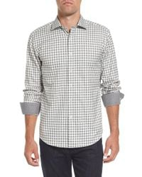 Bugatchi - Gray Shaped Fit Check Sport Shirt for Men - Lyst