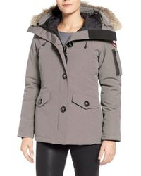 Canada Goose | Gray Montebello Slim Fit Down Parka With Genuine Coyote Fur Trim | Lyst
