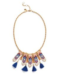 Rebecca Minkoff - Metallic Catalina Seed Bead Statement Necklace - Lyst