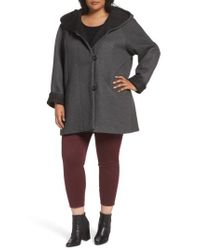 Gallery - Gray Hooded Double Face Knit Coat - Lyst