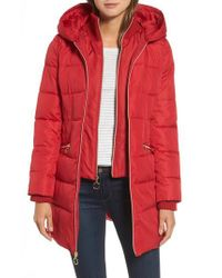 Kensie - Red Hooded Quilted Parka - Lyst