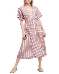 Free People Pink Monday Stripe Linen Blend Midi Dress