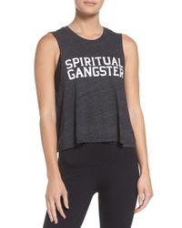 Spiritual Gangster - Black Varsity Crop Tank - Lyst