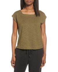 Eileen Fisher - Green Hemp & Organic Cotton Knit Crop Top - Lyst