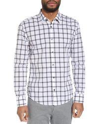 BOSS Black Reid Slim Fit Windowpane Sport Shirt for men