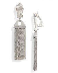 Vince Camuto - Metallic Pave Tassel Earrings - Lyst