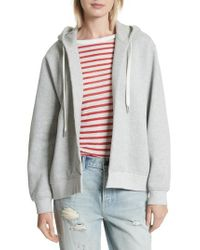 T By Alexander Wang - Gray Fleece Wrap Hoodie - Lyst
