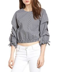 Bishop + Young Gray Ruched Sleeve Blouse