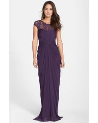 Adrianna Papell | Purple Lace Yoke Drape Gown | Lyst