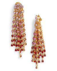 Oscar de la Renta - Multicolor Crystal Cascade Waterfall Drop Earrings - Lyst