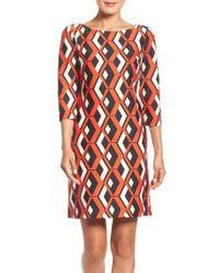 Taylor Dresses   Red Geo Print Shift Dress   Lyst