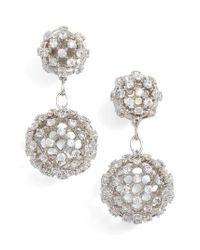 Nadri   Metallic Cubic Zirconia Double Drop Earrings   Lyst