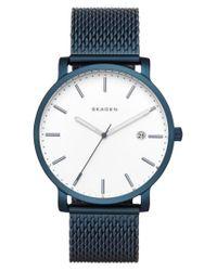 Skagen - Blue Hagen Round Mesh Strap Watch - Lyst