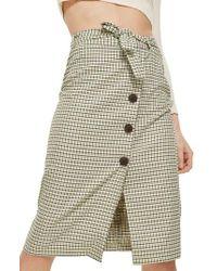 TOPSHOP Green Button Plaid Skirt