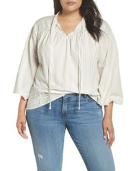 Caslon - White Caslon High Neck Woven Popover Shirt - Lyst