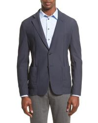 Armani - Gray Mesh Knit Jacket for Men - Lyst