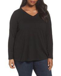 Eileen Fisher - Black Organic Cotton V-neck Top - Lyst