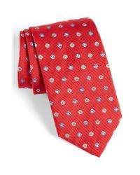 David Donahue | Red Neat Floral Medallion Silk Tie for Men | Lyst