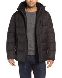 Andrew Marc - Black Groton Slim Down Jacket With Faux Shearling Lining for Men - Lyst