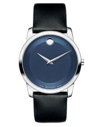 Movado | Black 'museum' Leather Strap Watch for Men | Lyst