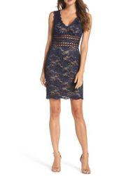 Xscape - Blue Lace Body-con Dress - Lyst