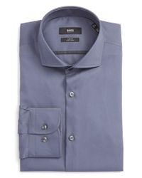 BOSS - Gray Slim Fit Easy Iron Solid Dress Shirt for Men - Lyst