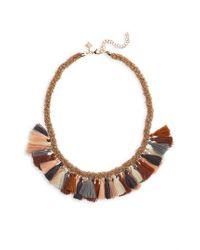 Panacea - Multicolor Braided Tassel Necklace - Lyst