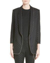 Alexander Wang - Gray Chain Trim Checkerboard Wool Blazer - Lyst