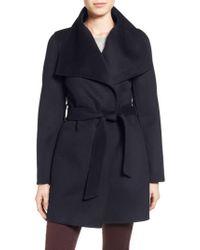 Tahari | Blue Tahari 'ella' Belted Double Face Wool Blend Wrap Coat | Lyst