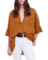 Free People Orange Best Of Me Button Down Shirt