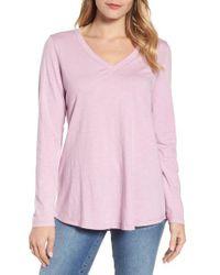 Eileen Fisher - Pink Organic Cotton V-neck Tee - Lyst