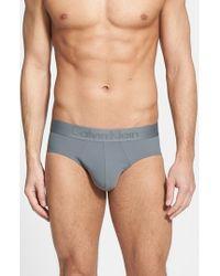 Calvin Klein   Gray Microfiber Hip Briefs for Men   Lyst