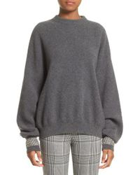 Alexander Wang - Gray Crystal Cuff Wool Blend Sweater - Lyst